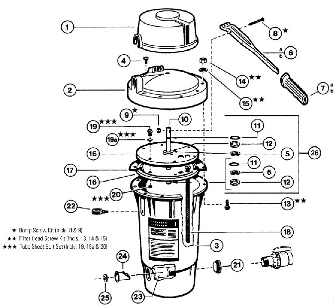 Hayward Perflex Extended Cycle DE Filter EC Series Parts Diagram Cutaway
