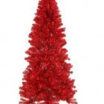 7&#039; Pre-Lit Paradise Red Tinsel Christmas Tree