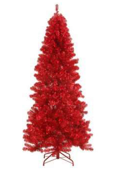 7' Pre-Lit Paradise Red Tinsel Christmas Tree
