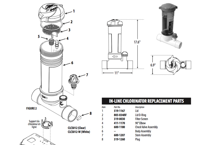 Waterway Clearwater In Line Chlorinators Parts Diagram